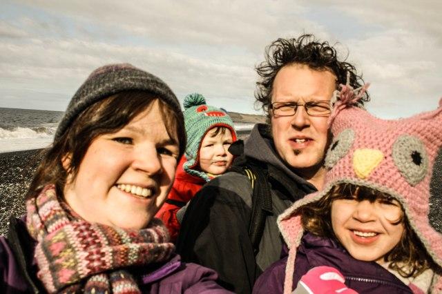 Reynisfjara beach, Iceland, kids, black beach